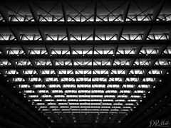 Looking Up (D. R. Hill Photography) Tags: bangkok thailand asia southeastasia iphone iphone6 iphoneography mobilephone cellphone blackandwhite monochrome snapseed architecture building roof symmetry
