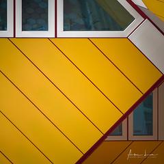 Yellow Submarine IX (Alec Lux) Tags: pietblom rotterdam architecture building city cube cubism design detail details fragment fragments geometric geometry hexagon holland house houses kaleidoscope kubuswoningen netherlands structure urban water