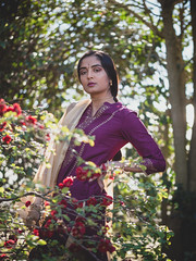 Rejuvenate (Vincent F Tsai) Tags: portrait fashion spring outdoor garden flower light nature sun natural girl indian india traditional dress beauty beautiful leicadgnocticron425mmf12 lumixgx8 panasonic