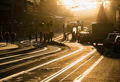 Stockholm, March 20, 2018 (Ulf Bodin) Tags: kungsträdgården rail winter sweden outdoor zebracrossing spårvagn canoneosm3 canonefm55200mmf4563isstm sunset övergångsställe vinter stockholm sverige hamngatan tracks stockholmslän se traffic people