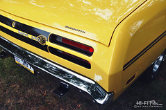 Yellow Dust (Hi-Fi Fotos) Tags: plymouth duster 340 mopar vintage 70s stripe decal american classiccar yellow chrome tail bumper badge graphic nikon d5000 hififotos hallewell 1971