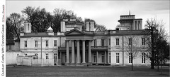 Dundurn Castle With Canada Geese (jwvraets) Tags: hamilton dundurncastle nationalhistoricsite museum greathouse monochrome blackandwhite bw monochromemonday opensource rawtherapee gimp nikon d7100 nikkor18105mmvr panorama