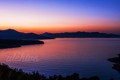 Last colors of the day (Ulchiva) Tags: sunset greek church landscape greece islands sky santorini island summer sea poros beautiful bell travel color aegean cyclades romantic champagne white architecture tourism europe mediterranean blue evening iconic luxury background water holiday view panoramic