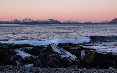 The very first sunset (katrin glaesmann) Tags: sea waves rocks sunset pink austvågøya lofoten norwegen norway wwwicelandtoursnet nordland mountain snow winter unterwegsmiticelandtours photographyholidaywithicelandtours 2018