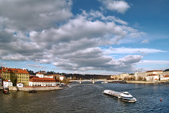 Windy February Afternoon in Prague (Petr Horak) Tags: city capital prague czechia europe river sky winter vltava water boat praha cze