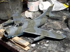 "1:72 English Electric ""Thunderbolt"" F.2, aircraft ""WK452/N"" of No. 79 Squadron Royal Air Force Germany; RAF Wunstorf AB in West Germany, 1955 (Whif/modified Hobby Boss kit) (dizzyfugu) Tags: 172 mig 15 fagot english electric ee bac thunderbolt jet fighter nene whif whatif fictional aviation dizzyfugu modellbau kit conversion raf royal air force no 79 squadron germany wunstorf"
