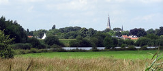 Riel skyline, Netherlands (Tom Hazen) Tags: grass tree sky goirle riel field panorama widescreen church lake village french feeling nature exploring travel netherlands border clouds cloud skyline