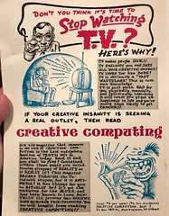 Crumb ad for Creative Computing Magazine, 1976 (seanflannagan) Tags: robertcrumb rcrumb comics undergroundcomix creativecomputing computers 1970s advertising magazines cartoonists television programming computerscience engineering zines