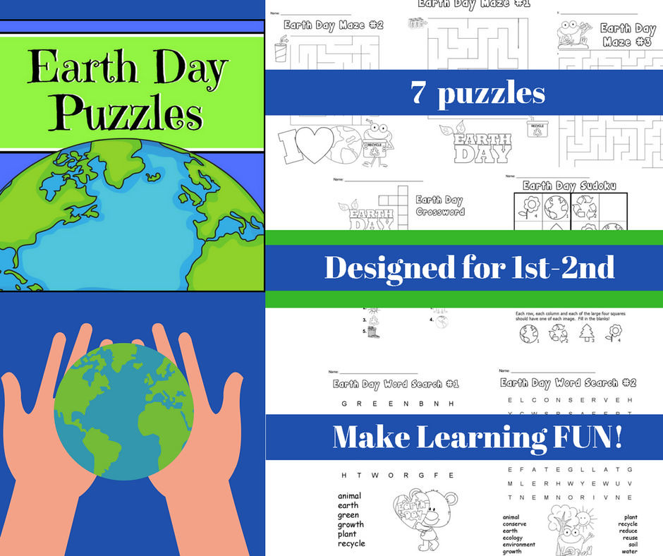 Earth Day Puzzles CHSH Teach Tags Animal Growth Plant Recycle Reduce