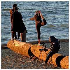 Log Ballet (HereInVancouver) Tags: people outdoors city urban candid ballet photographer missingtheshot beach log water ocean pacific englishbay vancouverswestend balanced camera tripod vancouver bc canada canong3x thingstodobythewater
