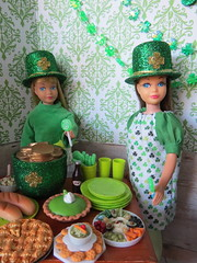 5. Little leprechauns (Foxy Belle) Tags: doll party st patricks day patrick irish green celebrate holiday barbie food glitter hat 16 scale playscale dollhouse miniature diorama room wallpaper decoration shamrock vintage