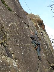 climbing up a crack (squeezemonkey) Tags: northwales snowdonia winter castlestafftrip tremadog tradclimbing climbing outdoors climbers doleriterock toproping craigpantifan uppertier crag
