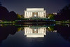 Light at the Lincoln Memorial (SunnyDazzled) Tags: lincolnmemorail abraham lincoln monument washington dc nationalmall captiol us night pool reflection water crowds statue history
