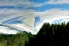 Cleft in Cairngorm. (Fr Paul Hackett) Tags: snow sunshine cairngorms mountain pines trees sky clouds