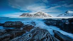 Flakstad Beach, Lofoten (HannahGE) Tags: 2018 march snow rocks flakstad waves blur mountains beach norway lofoten