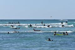 Crowded Surf off Waikiki (trailwalker52) Tags: waikiki hawaii oahu beautiful tourist vacation surfing sailing ocean catamaran surfinginhawaii surf crowdedsurf crowded boat water wipeout