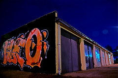 garages (koszut1) Tags: graffity garage night city sky light