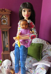5. Babysitting (Foxy Belle) Tags: doll barbie baby ooak repaint diorama 16 scale modern 2018 dolls child sew handmade chair living room scrapbook paper purple white pin cushion asian babysitter craft diy redressed knit avon talk town flocked poodle black leash babysitters inc skipper