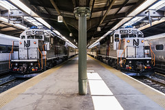 Hoboken Symmetry (sullivan1985) Tags: nj newjersey northjersey newjerseytransit njt njtr njtransit njtr4110 njtr4218 passenger passengertrain commuter commutertrain railroad railway train station emd gp40 geep gp40ph2b gp40ph2 rebuild hoboken hobokenterminal hudsoncounty trainstation hobokendivision