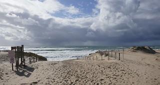 Arrivée venteuse, plage de l'Horizon, Cap-Ferret, bassin d'Arcachon, Gironde, Aquitaine, France.