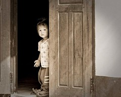 Little girl (liofoto) Tags: blackandwhite noiretblanc monochrome sepia laos asie asia girl littlegirl children travel voyage portrait regard yeux eyes