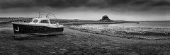 Panoramic of Lindisfarne Castle, Northumberland, England. (Gary Alexander's Landscape Photography) Tags: lindisfarne castle holy island panoramic photography photo black white composition monochrome mono boat shore northumberland wide moody dark tourism travel canon 6d 2018 70 200 f4 l sky cloud clouds water sea seaside seascape horizon