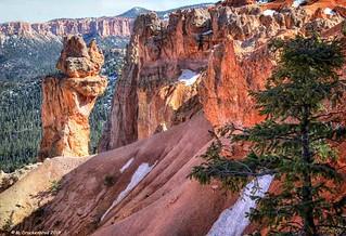 Hoodoo Sandstone Formation near the Natural Bridge Overlook at Bryce Canyon