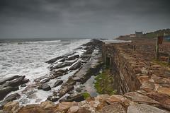 High tide (Marion McM) Tags: yellow sea sky clouds waves storm rocks stones village cellardyke fife scotland landscape hdr canoneos760d tide hightide