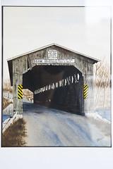 'Covered Bridge - Flat River'  by Kirk Wyman ($175) (mfbrehab) Tags: maryfreebed maryfreebedrehabilitationhospital guild art artshow exhibition 36 36th annual fine arts maryfreebedartexhibition grandrapids michigan 2018 patient patients show