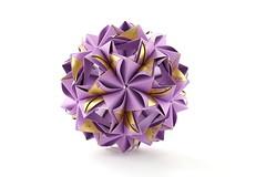 Ipheion kusudama (ronatka) Tags: kusudama modularorigami mashaathanasiadi rectangle ef50mmf18stm whitebackground purple violet golden inexplore