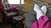 So Relaxing! (Jo Zimny Photos) Tags: 365the2018edition details chair footsstool rattan legs feet mine resting comfortable 3652018 day74365 15mar18 collage diptych
