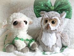 Liam and Hazel in trouble again! (Bennilover) Tags: toys stuffedanimals lamb owl liam hazel mischief jewelry headdress stpatricksday soft beds playing