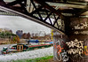 Under the Bridge - Bromley by Bow (Aleem Yousaf) Tags: outside outdoor frozen happy camera fun lens texture depth field nikkor dawn overcast river lea graffiti bridge under house boats construction three mills studio bromley bow east london morning clouds sky water colorful outdoors new reflections streetart colours me digital blur nikon d810 2470mm plants world flickr march mini beast google nik collection processing explore