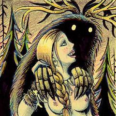 Northwoods Love Affair (Tom Bagley) Tags: braid cartoon wendigo antlers woods folkhorror spring colouredpencils brushpen cryptid creepy eerie weird tombagley calgary alberta canada boobs bones garamonhands