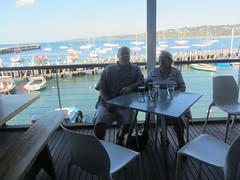 Mum and Richard in The Rocks, a waterfront restaurant in Mornington, Victoria (d.kevan) Tags: piers jetties boats portsandmarinas cafés tables chairs views hills sea mum richard windows people drinks mornington victoria australia morningtonpeninsular portphillipbay morningtonharbour exteriors