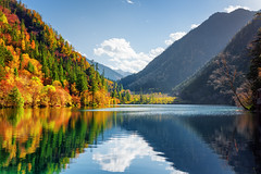 Amazing view of the Panda Lake. Autumn woods reflected in water (www.layerplay.design) Tags: