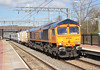 GBRf . 66775 . Alexandra Palace Station , North London . Wednesday 21st-March-2028 . (AndrewHA's) Tags: railway train alexandra palace station gbrf class 66 diesel locomotive loco 66775 hms argyll general motors gm 6x70 dollands moor hornsey depot peterborough barrier wagon siemens desiro city emu electric multiple unit 700151 delivery run