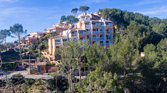 Aerial view of apartments in the street Cala Fornells in Peguera, Mallorca