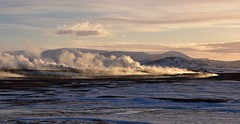 Geothermal Sunset (Harald Philipp) Tags: steam volcanic fields geothermal sunset iceland d810 lighting landscape nature twilight plains lava ice snow