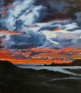 Sky fire, cigar box - oil.   #miniature#clouds#sea#oil#cigar box#art#arte#bright