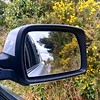 Looking back (Explored) (JulieK (thanks for 7 million views)) Tags: gorse carwindow rearviewmirror reflection lane wexford ireland irish iphonese green foliage flowers inexplore squareformat