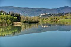 Lago delle Grazie 21.04.2013 (carlocorv1) Tags: lago acqua cielo azzurro alberi verde riflessi paesaggio montagne colori