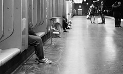 Dépassé. (Canad Adry) Tags: paris nation konica hexanon ar 40mm f18 subway underground métro rer noir et blanc black white street leg jambe weird perspective out sony alpha a6000 vintage old classic manual lens