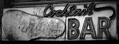 Cocktail Bar, Detroit (L55ZJNIT6B2KYV5V62Z4HAWSXZ) Tags: sign vintage bw analog urban monochrome canon film 35mm detroit scanned