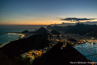 Rio de Janiero, as seen from Sugarloaf Mountain as dusk sets in