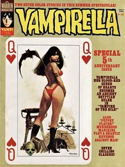 Vampirella #36 cover (TessTruestHeart) Tags: covers art pulps scifi fantasy illustration painting signed colors woman pose playingcard queenofhearts genre worlds planets strange costume erotic exotic logo vampirella code publications warren 1974 classic vintage adultcomics horrorcomics comicbook comicbookart issue anniversary 5th accessories batwings gothic monster sanjulian
