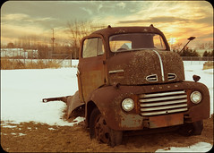 ~I've seen better days, (Fire Fighter's Wife) Tags: winter happyslidersunday happysliderssunday hss slide truck godscountry smalltownamerica smalltownusa town country old abandoned wreckage automobilegraveyard ford yesteryear landscape sky moody emotive expressive sunset roadtrip daysgoneby olympus 1250mmf3563 1250mm rust rusty colors colorpop colorful retroprocessing vintageprocessing