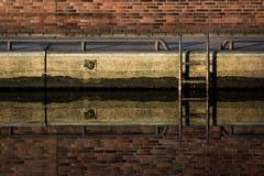 reflecting ladder (GeoMatthis) Tags: minimal minimalism simple simplicism reflection symmetry symmetric red orange yellow abstract art arty sea water ocean geometric geometry lines horizontal vertical kiel ostsee spiegelung abstrakt wasser ladder leiter