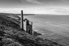 Towanroath Engine House, Wheal Coates. (Lloyd Austin) Tags: copper deposits ore northcoast house engine bricks brick monument stone horizon morning cornish mine tin chimney industrial building stones old blackandwhite bw contrast grey black white nikon d7200 sigma1750mm monochrome mono bnw vast timeless dramatic abandoned landscape heather cliffs clouds sky shoreline water atlantic ocean seascape sea coast coastline coastal sunday calm tranquil view vista walking coastalpath tinmine mining england stagnes cornwall whealcoates towanroathenginehouse