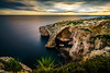 Blue Grotto :: Malta (K.H.Reichert [ not explored ]) Tags: goldenhour wahrzeichen sunset cliffs sonnenuntergang bluegrotto blauegrotte langzeitbelichtung sehenswürdigkeit longexposure sightseeing klippen ocean himmel sky visitmalta sea malta felsen meer coast rocks landmark